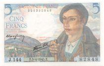 France 5 Francs Berger - 05-04-1945 Série J.144 - NEUF