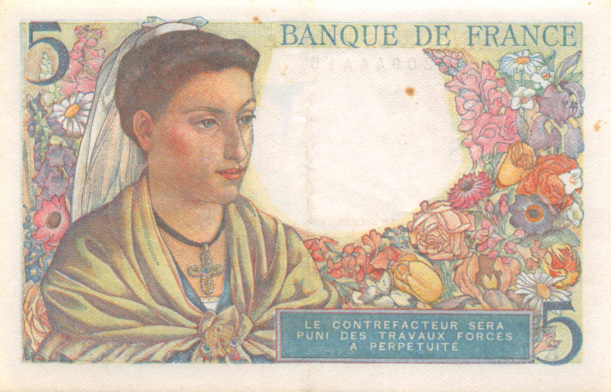 France 5 Francs Berger - 05-04-1945 Série K.129 - SUP