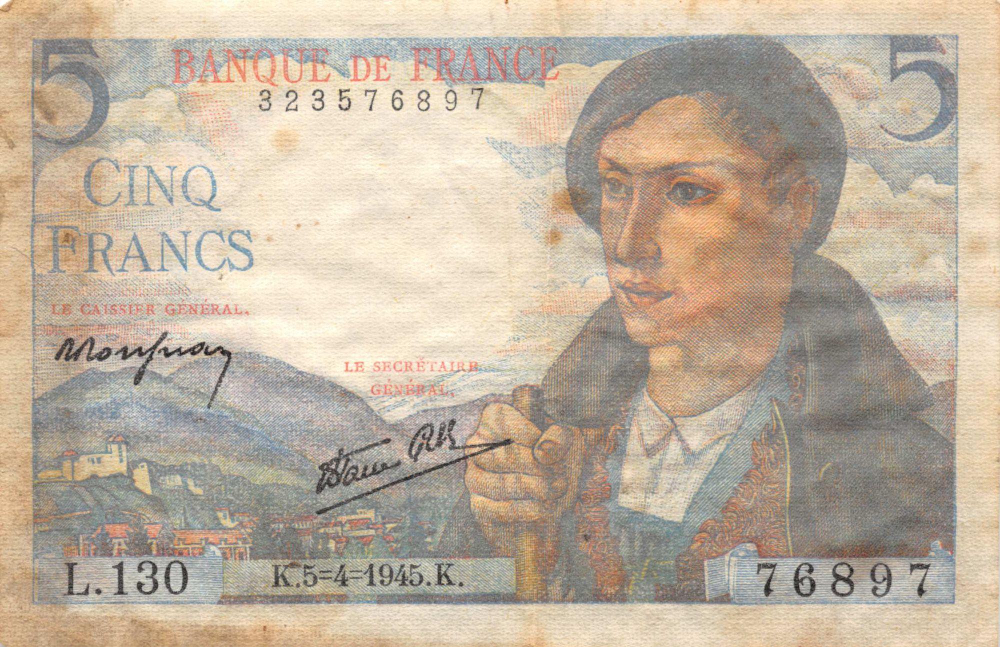 France 5 Francs Berger - 05-04-1945 Série L.130 - TB