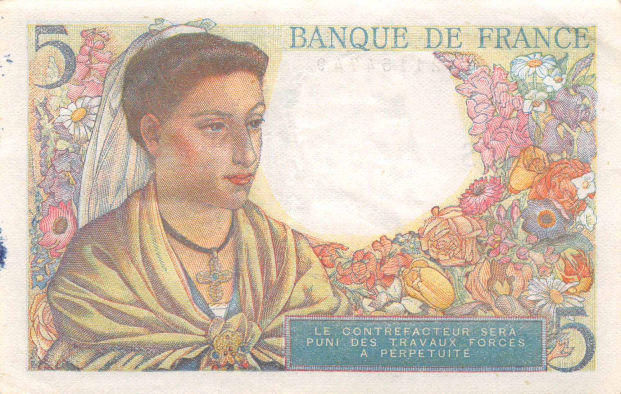France 5 Francs Berger - 05-04-1945 Série M.129 - TTB