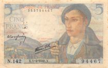 France 5 Francs Berger - 05-04-1945 Série N.142 - TB+