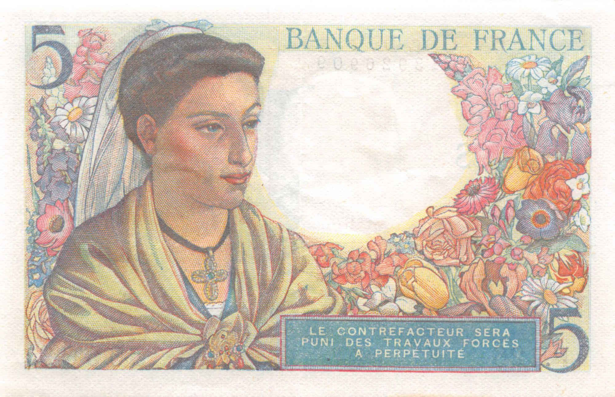 France 5 Francs Berger - 05-04-1945 Série P.126 - TTB+