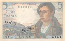 France 5 Francs Berger - 05-04-1945 Série S.125 - SUP