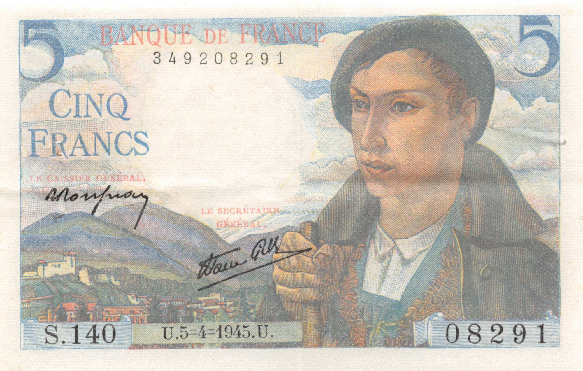 France 5 Francs Berger - 05-04-1945 Série S.140 - TTB+