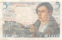 France 5 Francs Berger - 05-04-1945 Série T.147 - TB+