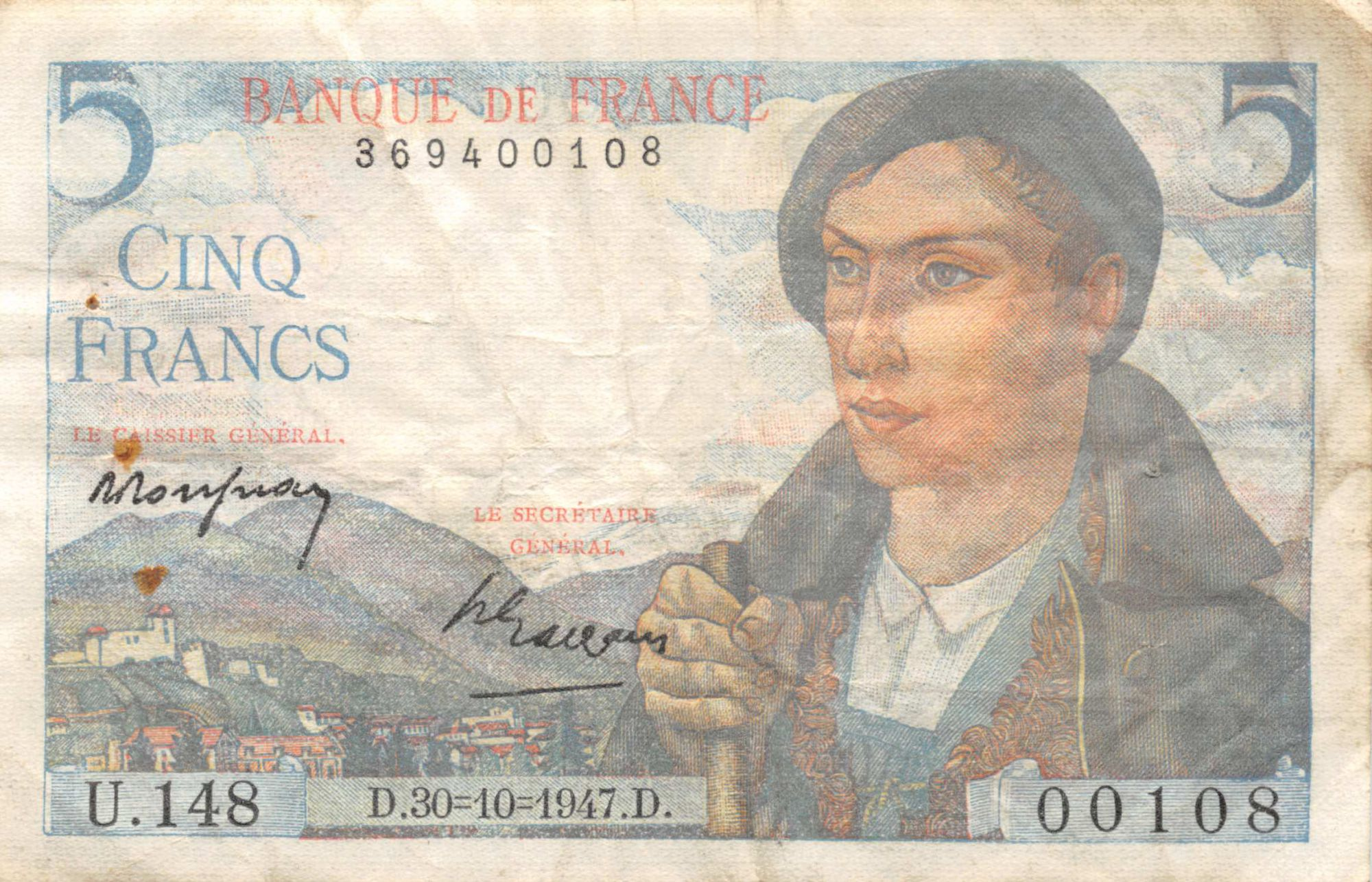 France 5 Francs Berger - 05-04-1945 Série U.148 - TB