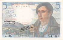 France 5 Francs Berger - 05-04-1945 Série V.127 - SPL