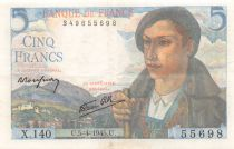 France 5 Francs Berger - 05-04-1945 Série X.140 - TTB