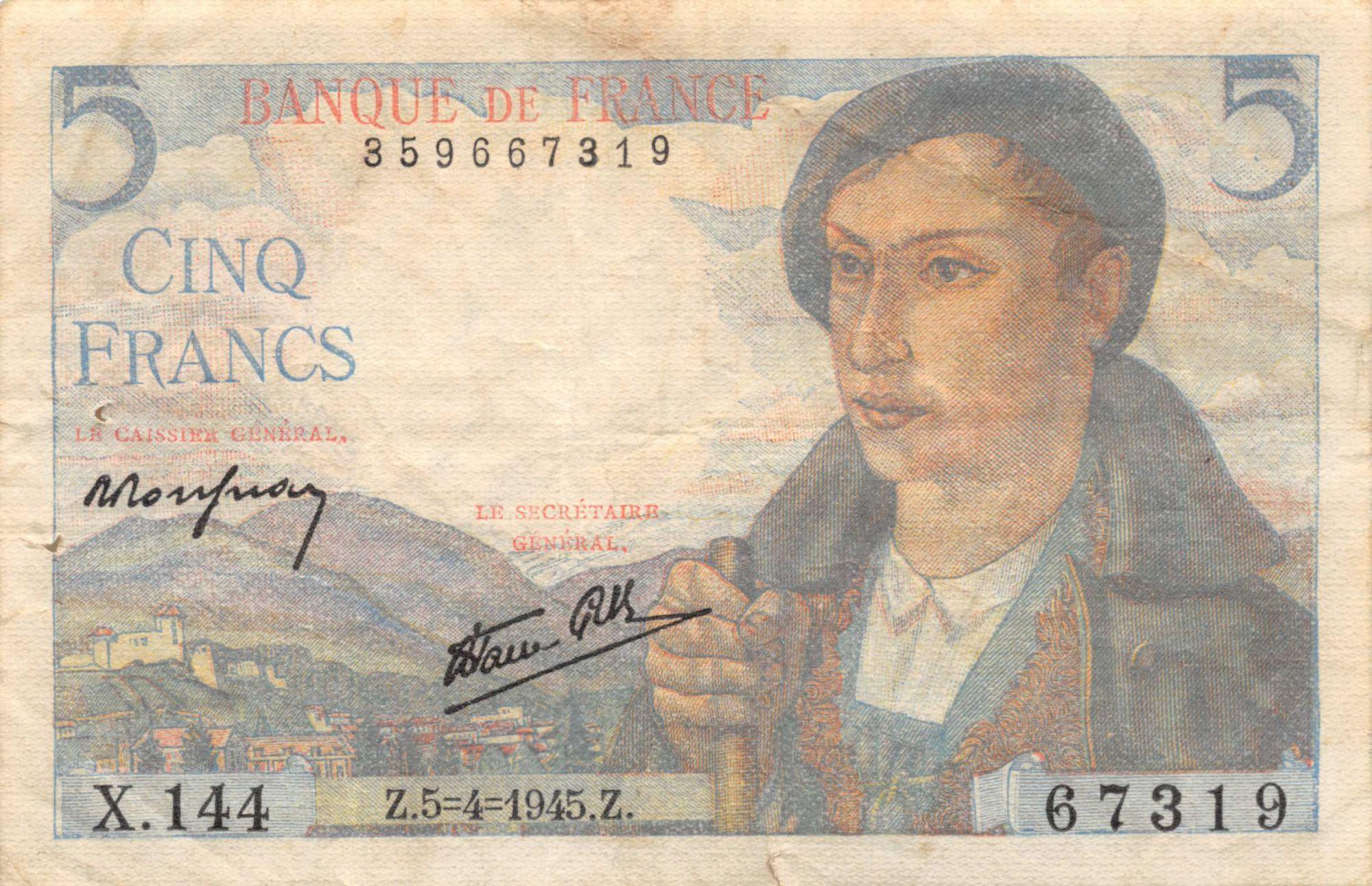 France 5 Francs Berger - 05-04-1945 Série X.144 - TB+
