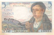 France 5 Francs Berger - 05-04-1945 Série Y.145 - TTB+