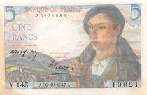 France 5 Francs Berger - 05-04-1945 Série Y.145 - TTB+