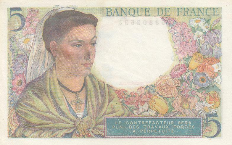 France 5 Francs Berger - 05-08-1943 - Série O.62