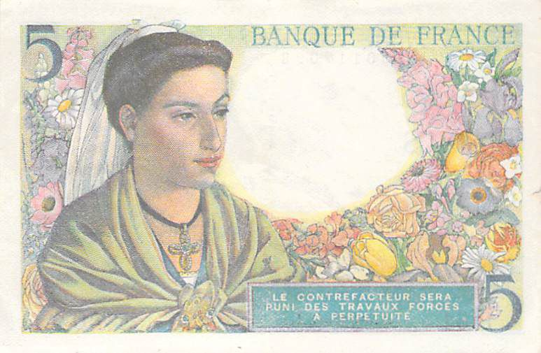 France 5 Francs Berger - 05-08-1943 Série B.61 - TTB
