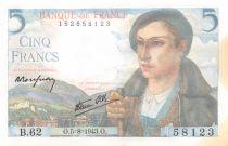 France 5 Francs Berger - 05-08-1943 Série B.62 - SPL