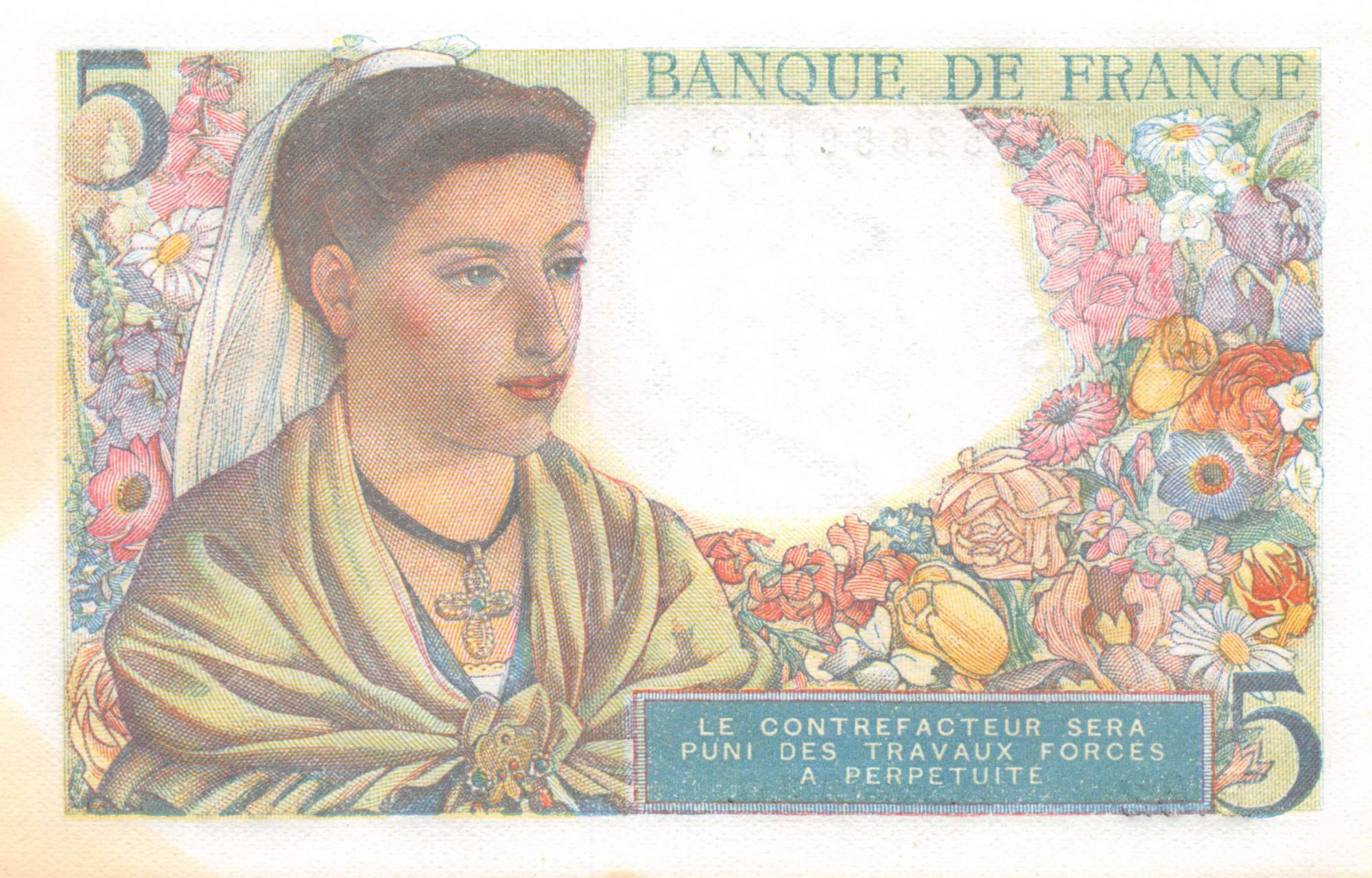 France 5 Francs Berger - 05-08-1943 Série B.62 - SPL