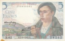 France 5 Francs Berger - 05-08-1943 Série B.62 - SUP