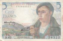 France 5 Francs Berger - 05-08-1943 Série B.62 - TTB