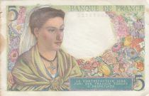 France 5 Francs Berger - 05-08-1943 Série B.62 - TTB