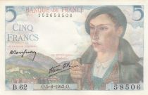 France 5 Francs Berger - 05-08-1943 Série B.62