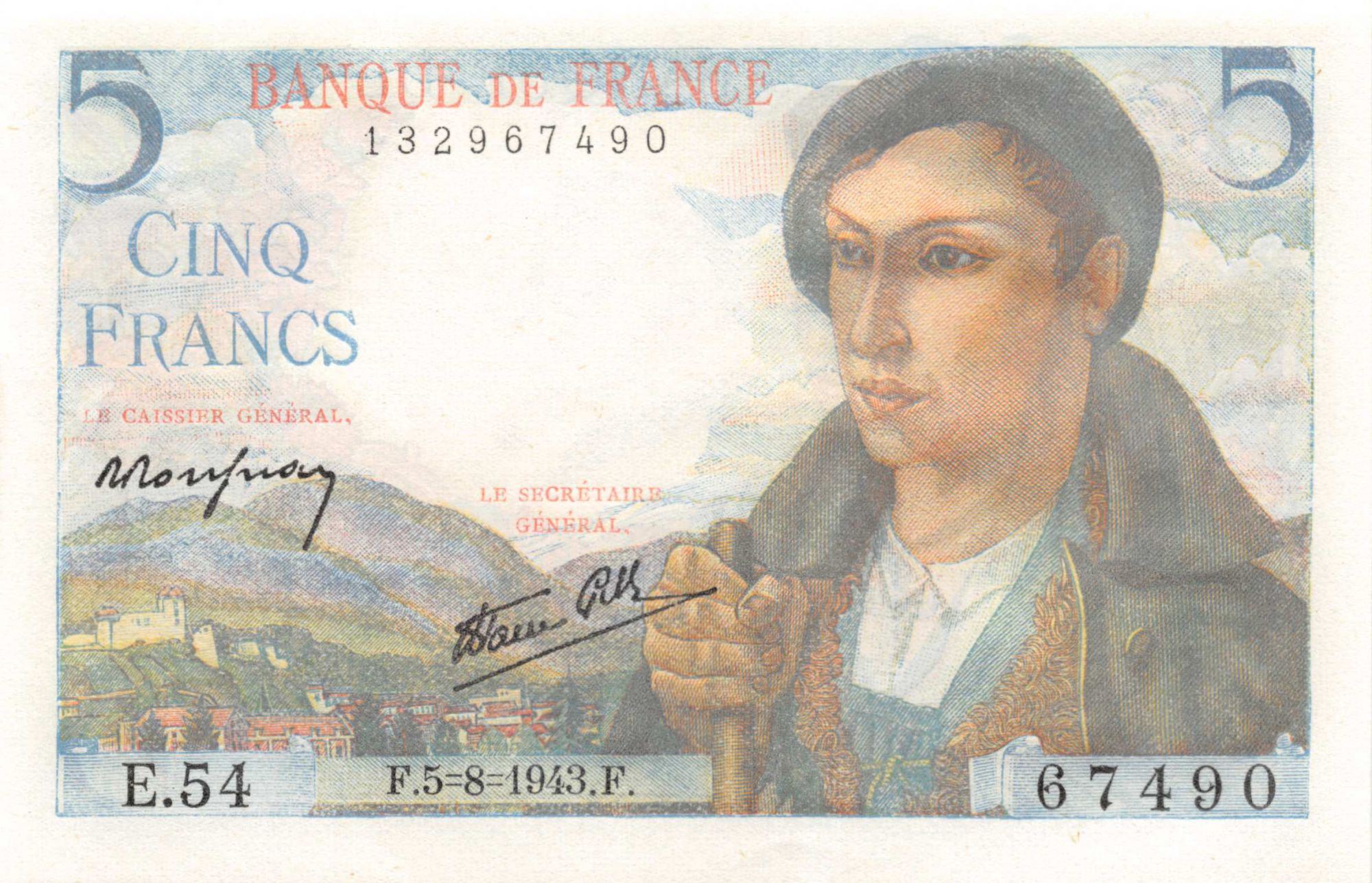 France 5 Francs Berger - 05-08-1943 Série E.54 - NEUF