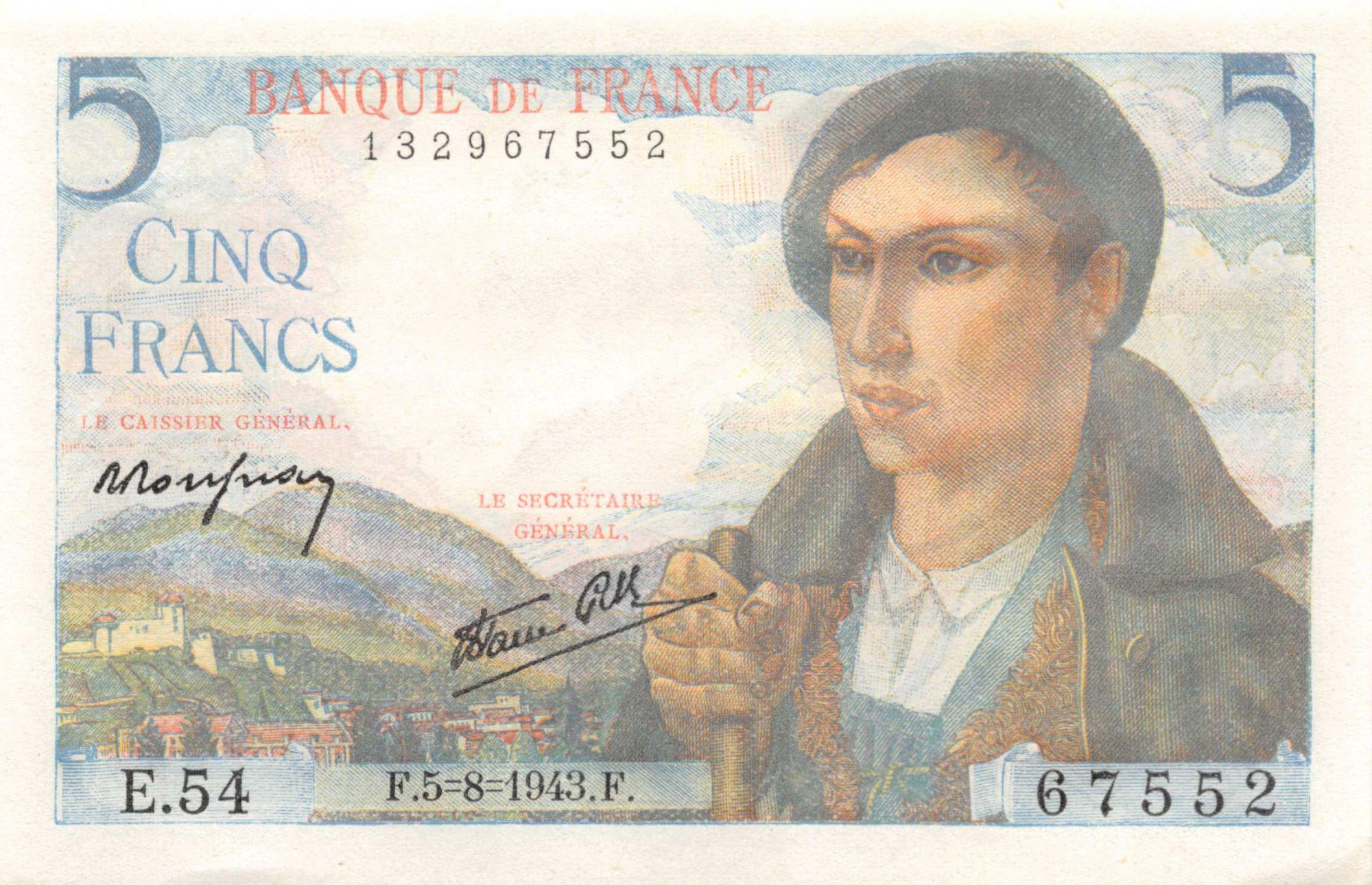 France 5 Francs Berger - 05-08-1943 Série E.54 - P.NEUF