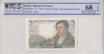 France 5 Francs Berger - 05-08-1943 Série M.53 - PCGS 68 OPQ