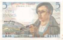 France 5 Francs Berger - 05-08-1943 Série M.64 - SUP