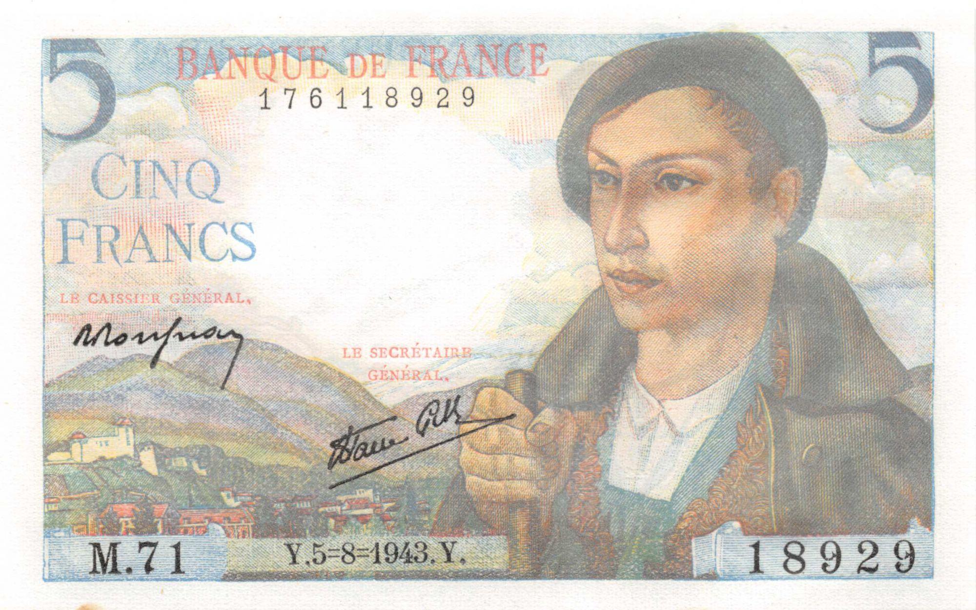 France 5 Francs Berger - 05-08-1943 Série M.71 - P.NEUF