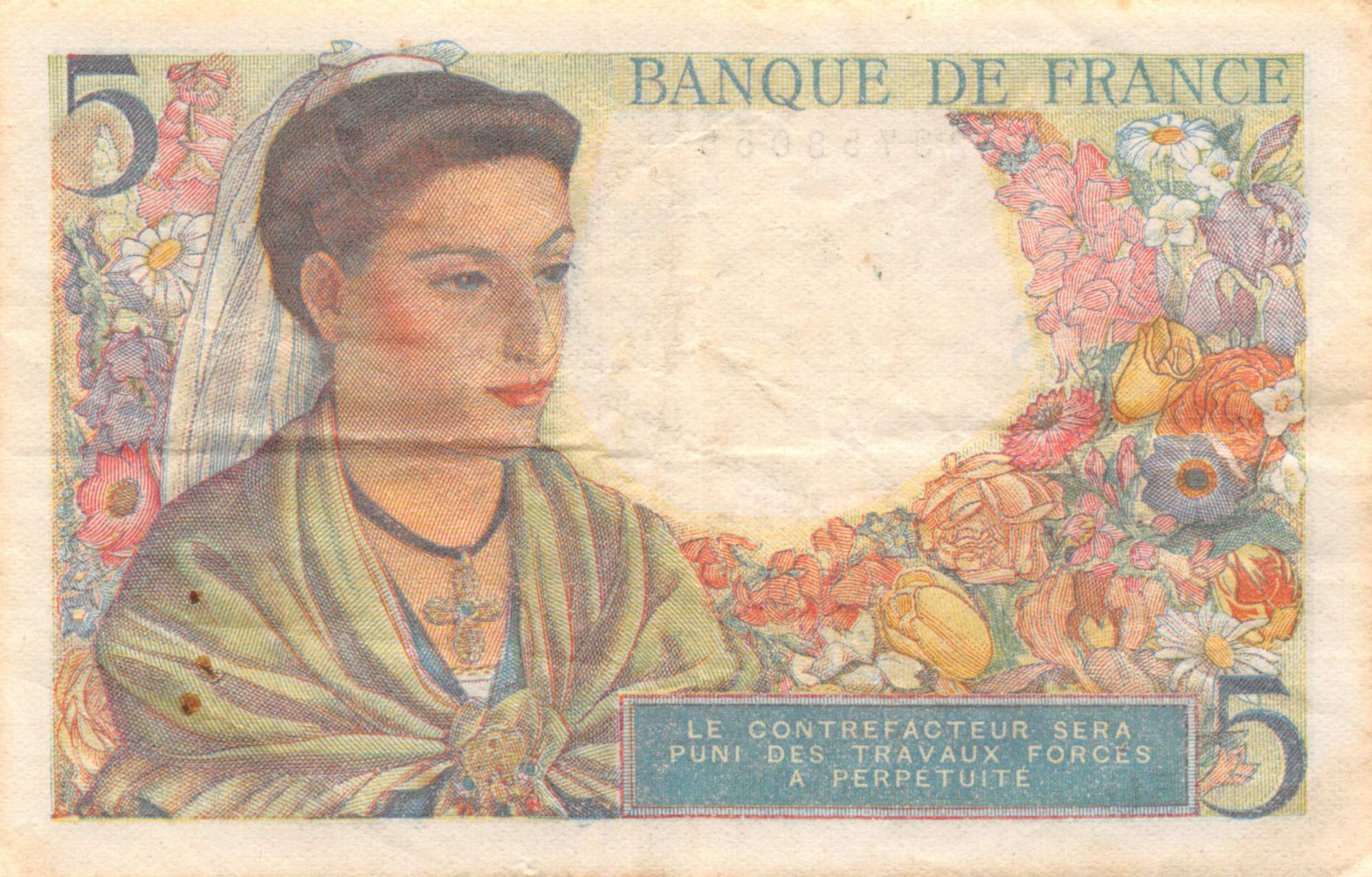 France 5 Francs Berger - 05-08-1943 Série N.50 - TTB