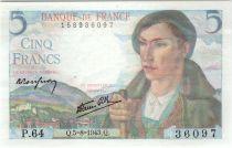 France 5 Francs Berger - 05-08-1943 Série P.64