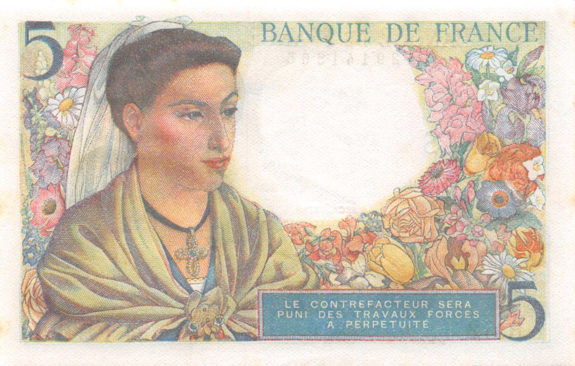 France 5 Francs Berger - 05-08-1943 Série R.52 - P.NEUF