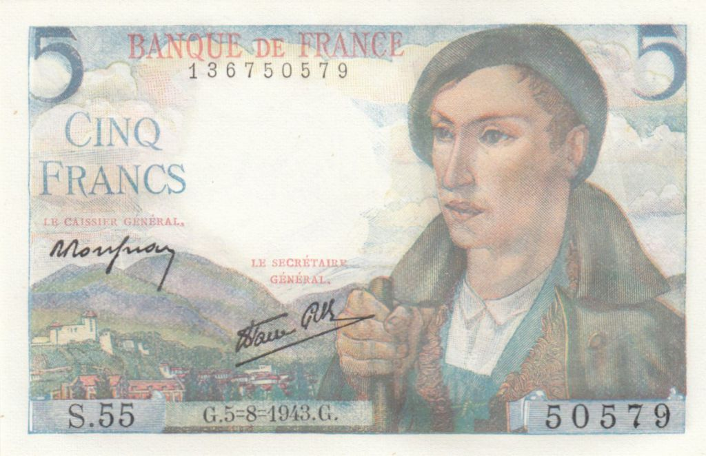 France 5 Francs Berger - 05-08-1943 Série S.55 - Neuf