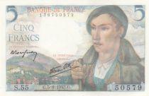 France 5 Francs Berger - 05-08-1943 Série S.55 - Neuf