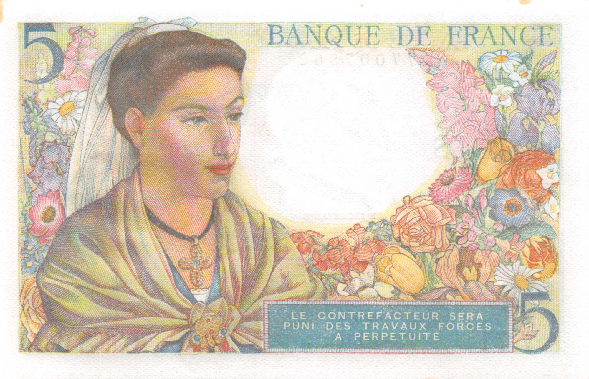 France 5 Francs Berger - 05-08-1943 Série V.71 - P.NEUF