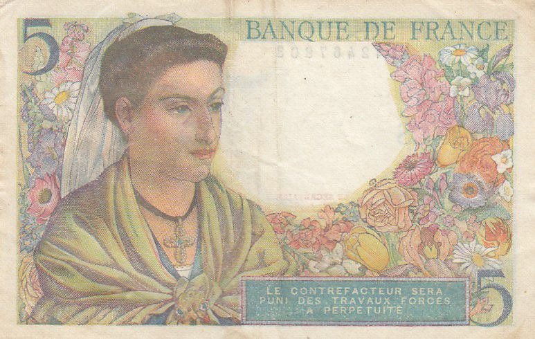 France 5 Francs Berger - 05-08-1943 Série W.57 - TTB