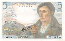 France 5 Francs Berger - 05-08-1943 Série W.67 - NEUF