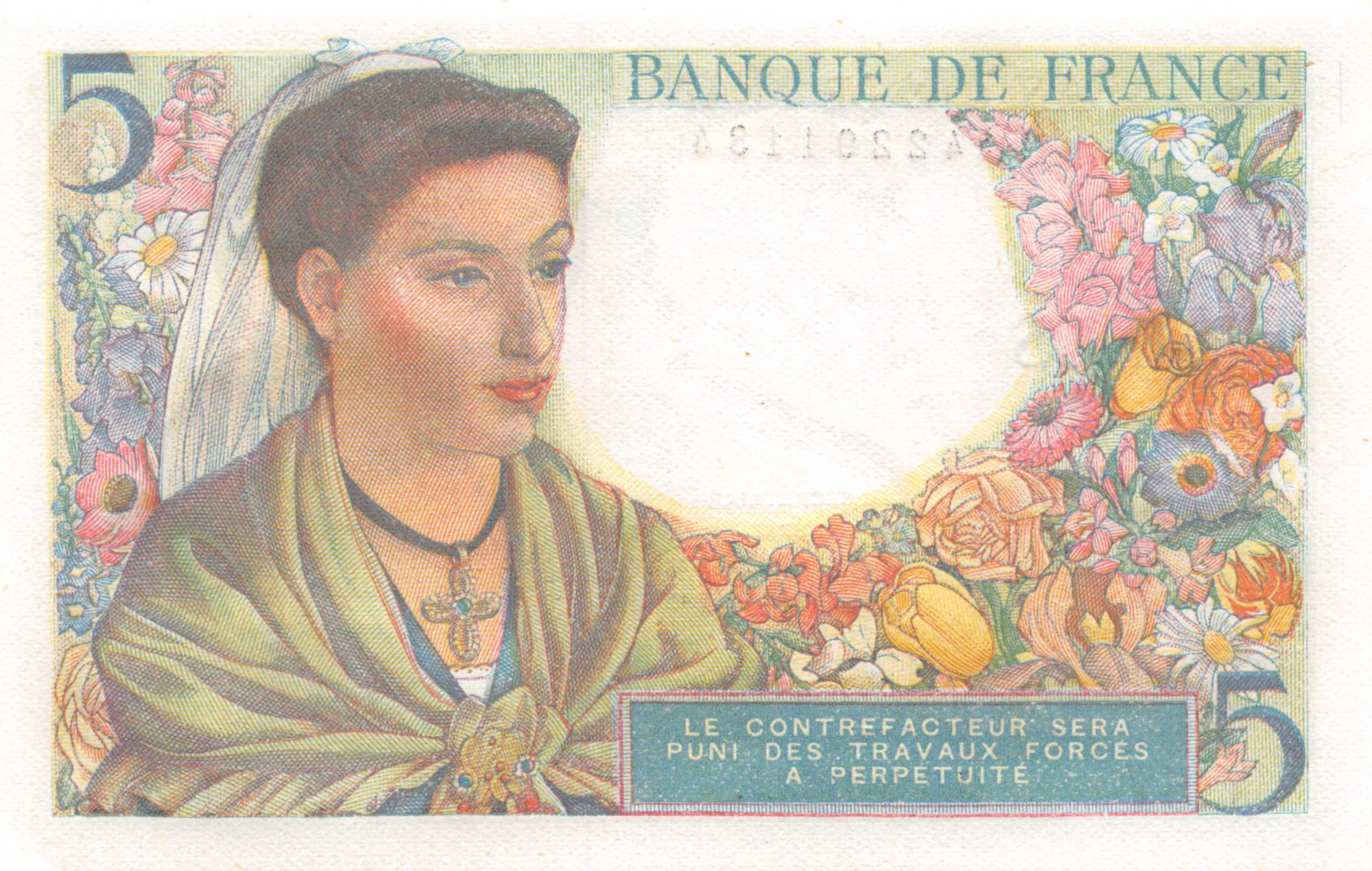 France 5 Francs Berger - 05-08-1943 Série Y.57 - P.NEUF