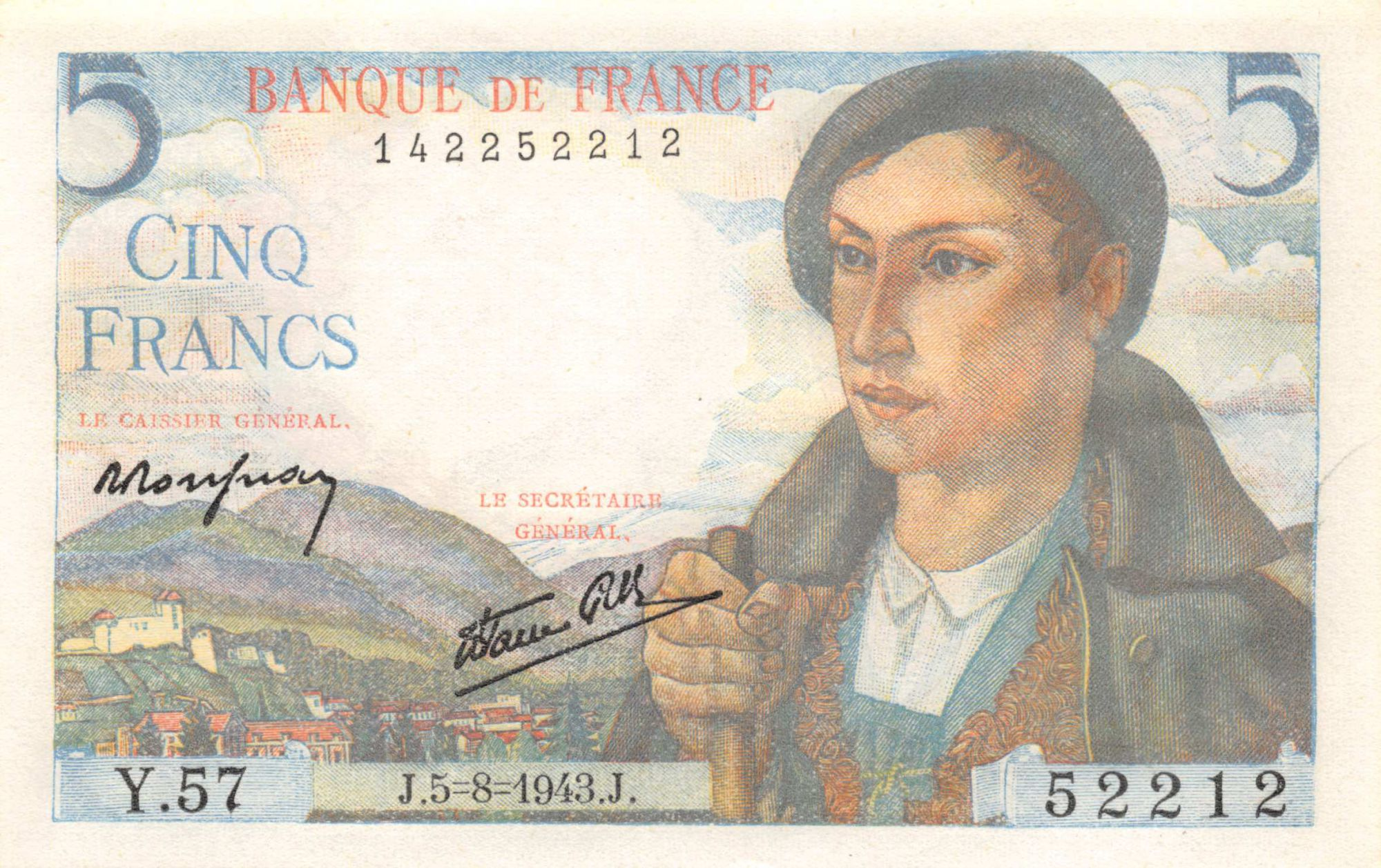France 5 Francs Berger - 05-08-1943 Série Y.57 - SPL