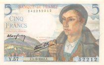 France 5 Francs Berger - 05-08-1943 Série Y.57 - SPL