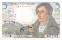 France 5 Francs Berger - 05-08-1943 Série Y.64 - SUP+