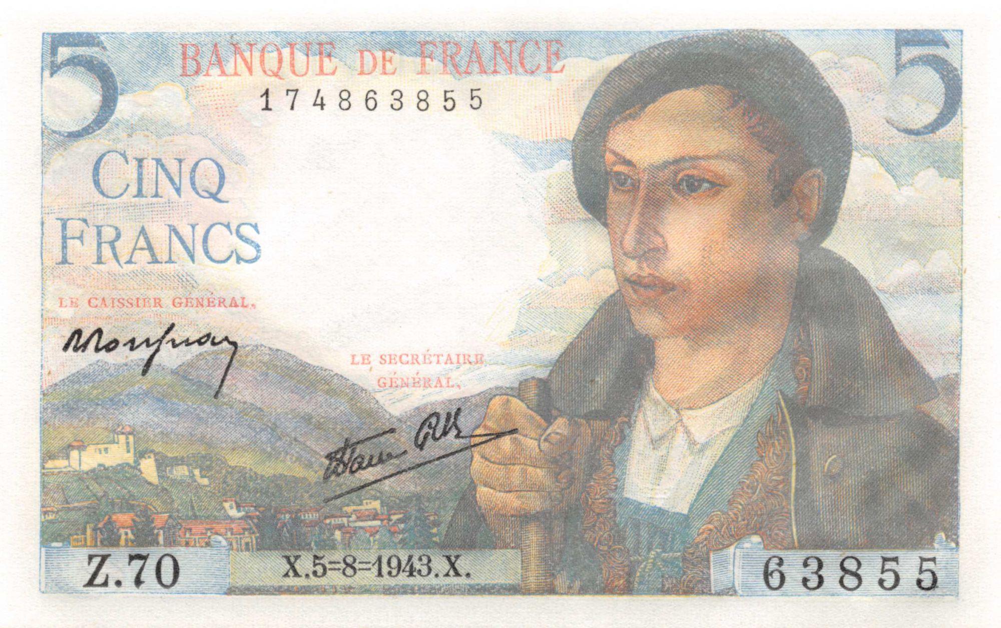 France 5 Francs Berger - 05-08-1943 Série Z.70 - NEUF