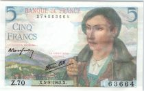 France 5 Francs Berger - 05-08-1943 Série Z.70