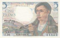 France 5 Francs Berger - 22-07-1943 - Série T.36