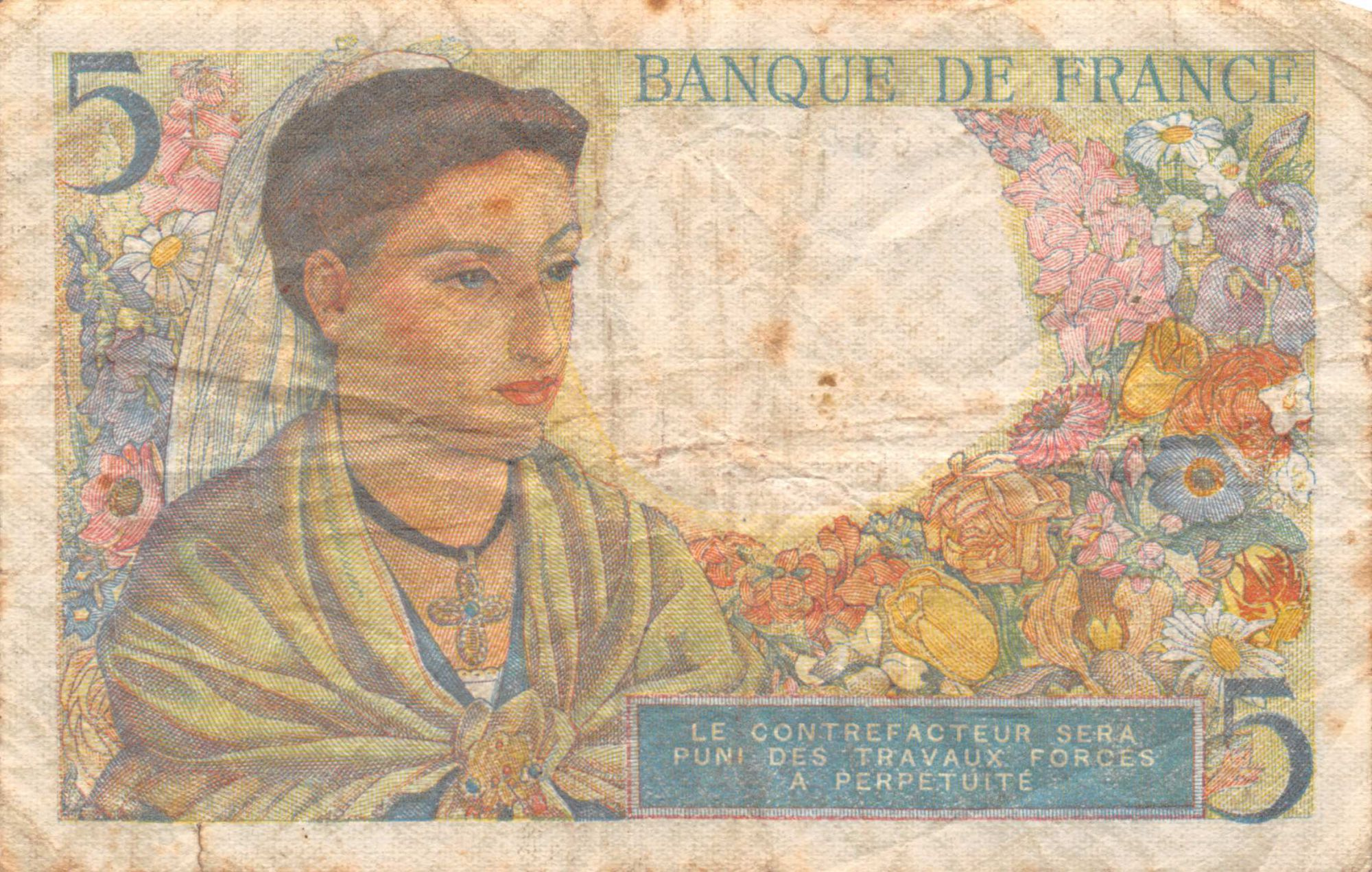 France 5 Francs Berger - 22-07-1943 Série B.32 - PTB