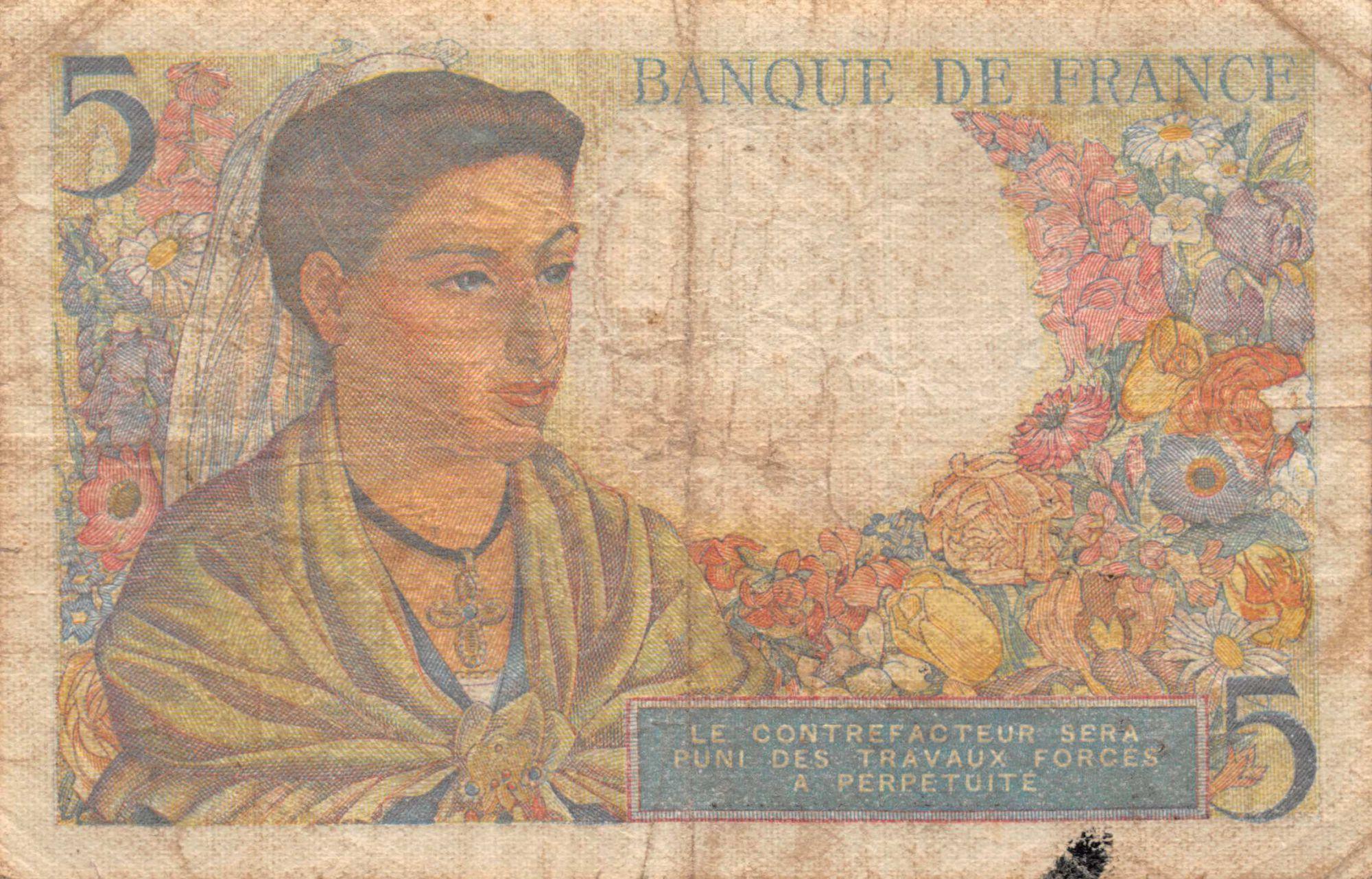 France 5 Francs Berger - 22-07-1943 Série D.36 - TB