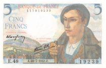 France 5 Francs Berger - 22-07-1943 Série E.48 - P.NEUF