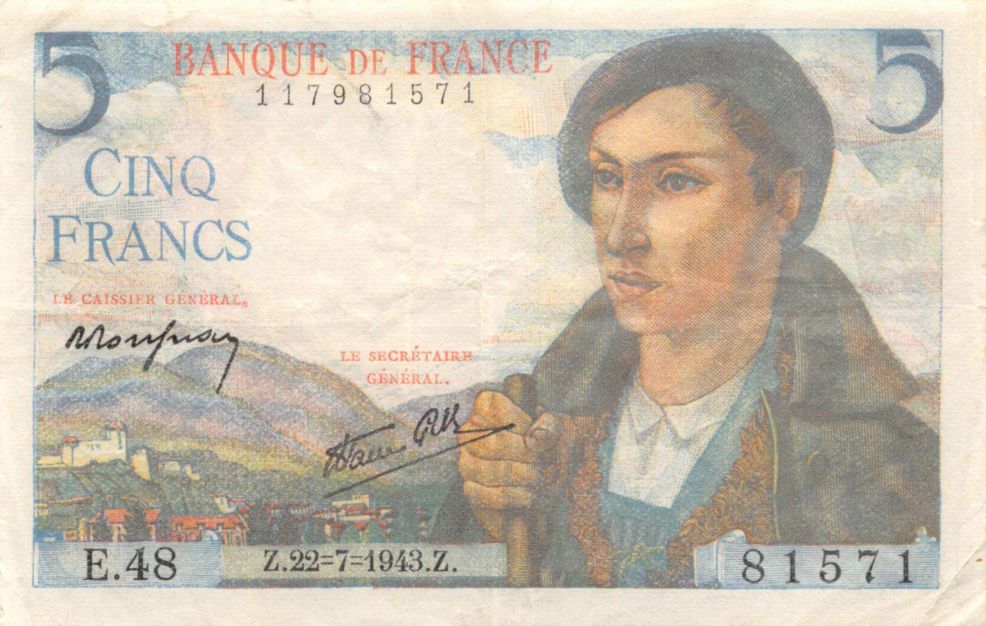 France 5 Francs Berger - 22-07-1943 Série E.48 - PTTB