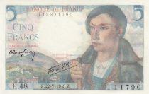 France 5 Francs Berger - 22-07-1943 Série H.48 - Neuf
