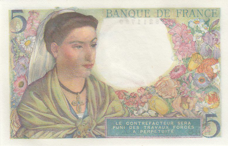 France 5 Francs Berger - 22-07-1943 Série H.48 - Neuf