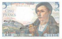France 5 Francs Berger - 22-07-1943 Série H.48 - SPL